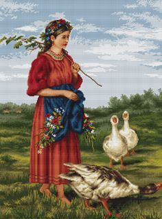 Girl with Geese Needlepoint Kit By Luca S