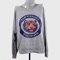 Vintage 80's Detroit Tigers Logo // triblend heather grey womens american apparel pullover on Etsy, $27.00