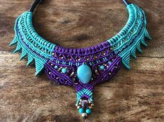Collar necklace Micro macrame necklace, hand made all by knots, tribal necklace, macrame necklace, statememnt necklace, unique necklace, beautiful necklace. round robber cord, silver tone clasp. the cords i used are turqouise and deep purple with amazonite gemstone center bead and brass
