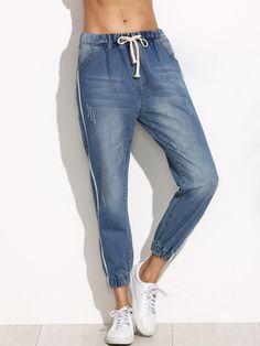 MakeMeChic - MAKEMECHIC Blue Side Stripe Drawstring Waist Jeans - AdoreWe.com