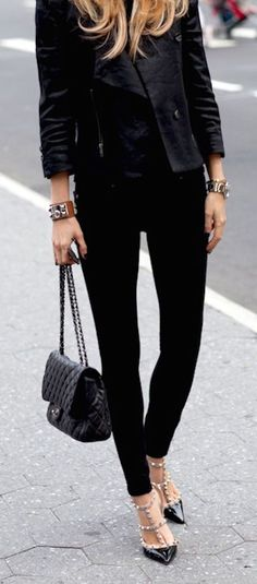 For the jacket and the bracelets.   Chanel bag & Valentino shoes | Street Chic.