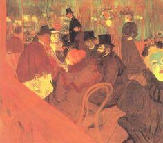 Henri de Toulouse-Lautrec.  Das Promenoir des »Moulin Rouge«. 1892, Öl auf Leinwand, 123 × 140,5 cm. Chicago, Art Institute. Genremalerei. Frankreich. Postimpressionismus.