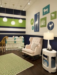 Babyzimmer Gestalten Weiße Tierenbilder Grün Blau