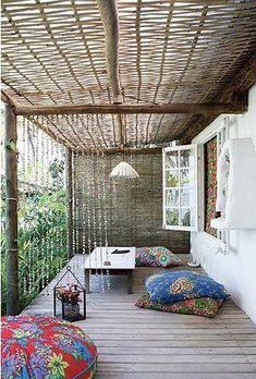Pergola For Small Backyard Interior Exterior, Exterior Design, Container Hotel, Outdoor Rooms, Outdoor Living, Bamboo Roof, Bamboo Poles, Rustic Outdoor, Outdoor Decor