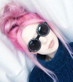 Pink messy bun