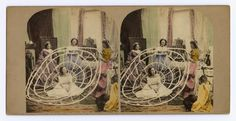 Coloured stereocard entitled 'Crinoline Made Useful' depicting a woman being dressed in a crinoline, by an unknown photographer