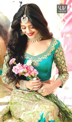 Buy Turquoise Satin and silk Lehenga with Silk Choli - Lehenga Choli for Women from Andaazfashion at Best Prices. Beautiful Girl Indian, Most Beautiful Indian Actress, Beautiful Girl Image, Beautiful Women, Indian Bridal Photos, Indian Bridal Fashion, Lehenga Choli Online, Sari, Silk Lehenga