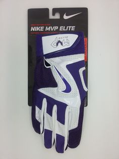 NIKE MVP ELITE PURPLE/WHITE ADULT BATTING GLOVES PAIR (ADULT LARGE) -- NEW #Nike