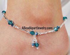 Ankle Bracelet, Turquoise Blue Anklet, Double Dangle Anklet Crystal Anklet, Something Blue, Foot Jewelry Beaded Anklet Ankle Jewelry Anklet Ankle Bracelet Swarovski Crystal by ABeadApartJewelryAnklet Ankle Bracelet Swarovski Crystal by ABeadApartJewelry Ankle Jewelry, Wire Jewelry, Beaded Jewelry, Jewelry Bracelets, Jewelery, Handmade Jewelry, Pandora Bracelets, Crystal Jewelry, Necklaces