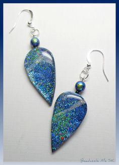 polymer clay Teardrop Dangle Earrings, handmade jewelry. $14.00, via Etsy.