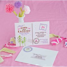 Glam Camping Glamping Girl Birthday Party Printable Invitation and Address Labels