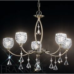 Franklite FL2293/5 Sherrie 5 Light - Bronze Small Cut Glasses And Faceted Crystal Drops Can Be Converted To Flush Fitting For Lower Ceilings Suitable To Be Dimmed 5 x 33w G9 Bulbs Included Free Of Charge (40w equivalent) Height 430mm - 1020mm, Diameter 520mm
