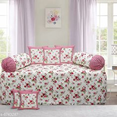 Diwan Sets Printed Pure Cotton 90 X 59 Diwan Set  Bedsheet Fabric: Cotton Bolster Cover Fabric: Cotton Cushion Cover Fabric: Cotton No. of Bedsheets: 1 No. of Bolster Covers: 2 No. of Cushion Covers: 5 Thread Count: 180 Print or Pattern Type: Solid Multipack: 1 Sizes:  Free Size (Bedsheet Length Size: 90 in Bedsheet Width Size: 59 in Bolster Cover Length Size: 32 in Bolster Cover Width Size: 15 in Cushion Cover Length Size: 15 in Cushion Cover Width Size: 15 in) Country of Origin: India Sizes Available: Free Size   Catalog Rating: ★4.3 (2239)  Catalog Name: Printed Pure Cotton 90 X 59 Diwan Set CatalogID_1075262 C117-SC1107 Code: 157-6743287-4791