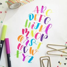I totally failed on posting the alphabet this last month, so here's to smooshing it all into one day. Or, I just wanted to try all the colors of my new brush pen set. Hand Lettering Alphabet, Doodle Lettering, Creative Lettering, Calligraphy Letters, Typography Letters, Brush Lettering, Modern Calligraphy, Lettering Design, Brush Letter Alphabet