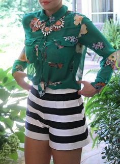 stripe shorts and floral top
