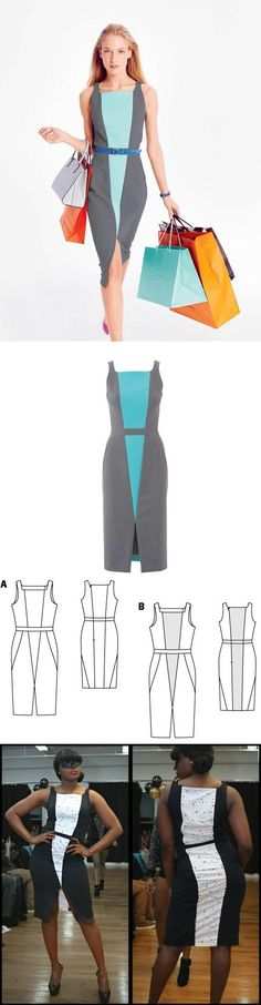 Sheath Dress with Front Slit 08/2015. Women's dress sewing pattern available for download. Available in various sizes and is produced by BurdaStyle Magazine.  The dress made of high-tech double-face with small darts located just to the right, the slit is in front instead of back.Use your imagination and different fabrics colors for a color-blocking effect.