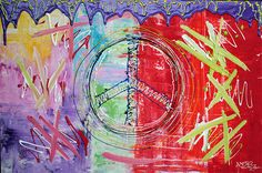Peace Sign, Colorful Abstract Art - MODERN PAINTING - Pop Culture by barbosaart #Abstract