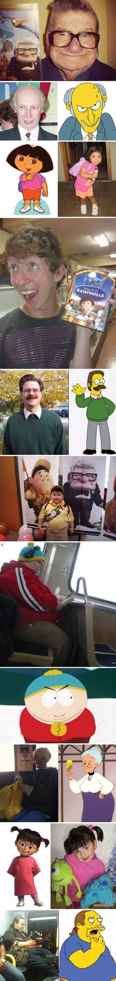 Cartoon characters vs real persons
