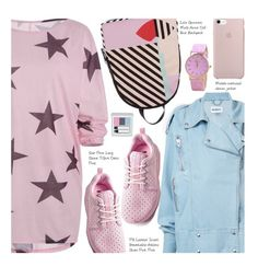 """""""Casual"""" by beebeely-look ❤ liked on Polyvore featuring Misbehave, Lulu Guinness, RMK, casual, streetwear, denimjackets, twinkledeals and monochromepink"""