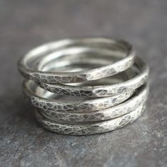 Lina - Simple Oxidized Hammered Sterling Silver Ring Band Stacking Rings. 15.00, via Etsy.