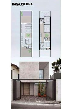 ideas exterior facade house floor plans for 2019 Modern house design - Any Narrow House Designs, Narrow House Plans, Small House Design, Modern House Plans, Modern House Design, House Floor Plans, Home Design, Townhouse Designs, Appartement Design