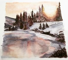 Along an Alberta River. Based on a photo by Dax Justin. Watercolour 🎨