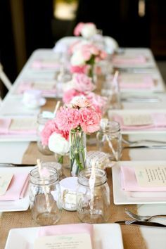 Idea - craft paper runner down white table cloth