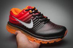 Leather Nike Air Max 2017 Gradual Change Orange Black White Tick Running Men Women