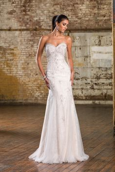 Justin Alexander Signature Chantilly Lace and Beadwork Fit and Flare Gown