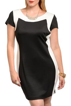 4ccffcb1c59 Plus Size Classy Fitted Color Block Date Dress Date Dresses