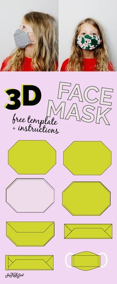 3d mask template - the most comfortable face mask - see kate sew Easy Face Masks, Best Face Mask, Diy Face Mask, Face Face, Sewing Patterns Free, Sewing Tutorials, Sewing Projects, Formation Couture, Sewing Elastic