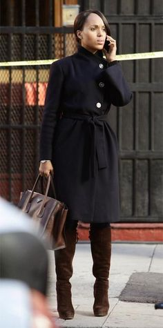 Scandal Fashion Credits: All the Details on What the Stars Wore - SEASON 4, EPISODE 14: GIORGIO ARMANI COAT, PRADA BAG, J BRAND JEANS, GUCCI BOOTS from #InStyle