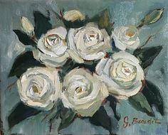 Jen Beaudet Art: White Roses for Day 16