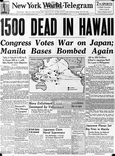"""The front page of the """"New York World Telegram"""", with the headline, dead in Hawaii"""", referring to the Japanese air attack at Pearl Harbour (Pearl Harbor) on the Hawaiian island of Oahu. December (Photo by Express/Express/Getty Images) Newspaper Wall, Vintage Newspaper, Newspaper Headlines, Newspaper Article, History Facts, World History, Oahu, Pearl Harbor Attack, War Photography"""