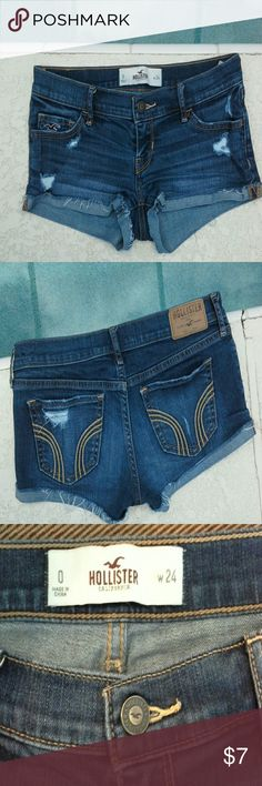 SALE ** Hollister jean shorts * reduced from $10 I'll get to the point...sexy, short and distress look. Hollister Shorts Jean Shorts
