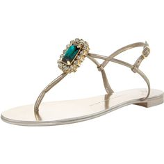 Giuseppe Zanotti Jeweled Thong Sandal ($651) ❤ liked on Polyvore featuring shoes, sandals, flats, flats sandals, giuseppe zanotti sandals, leather sandals, leather shoes and jewel sandals