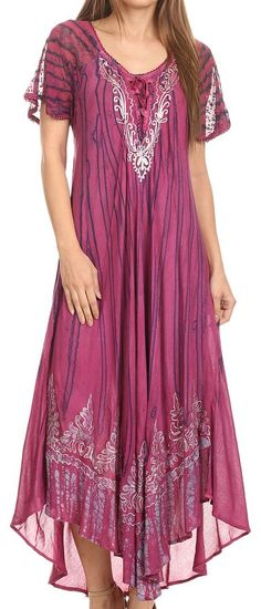 Lace Embroidered Cap Sleeve Tie Dye Wash Caftan Dress:Summer Fashion: Spring Outfits:Casual Outfits:Cute Outfits: Summer Outfits: Spring Outfits:Spring Outfits:Summer Dress