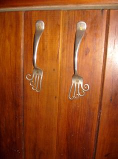 Bent Fork Cupboard Handles. Do This! Spoons Too?