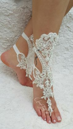 free ship bridal anklet ivory lace sandals wedding by UnionTouch Barefoot Sandals Wedding, Wedding Shoes, Lace Wedding, Bare Foot Sandals, Beach Sandals, Elegant Bride, Anklet, Ivory, Ship