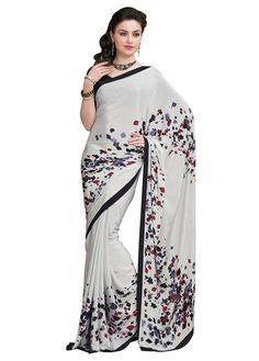 Crepe Silk Printed Cream Saree - #beautiful #StayTrendyWithIndiaRush