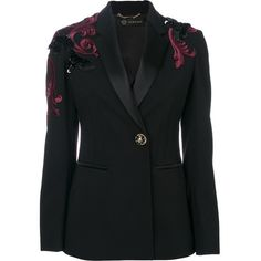 Versace Baroque embroidered blazer ($4,850) ❤ liked on Polyvore featuring outerwear, jackets, blazers, embroidery jackets, embroidered jacket, versace, blazer jacket and versace blazer