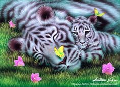 """My Mother"" White Tigers, Acrylic on canvas, 2009"