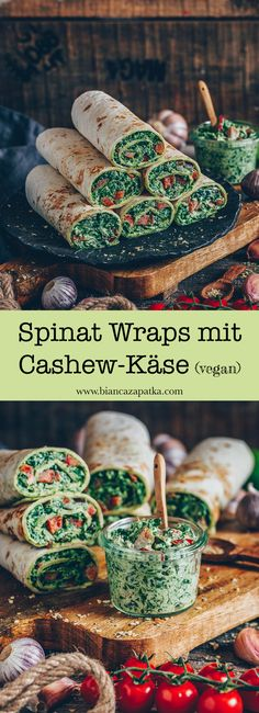 Spinach wraps with cashew cheese (vegan) - vegane Mittagessen - Pizza Recipes Pizza Recipes, Vegetarian Recipes, Healthy Recipes, Sandwich Recipes, Cheese Recipes, Healthy Wraps, Chicken Recipes, Desserts Végétaliens, Vegan Cashew Cheese