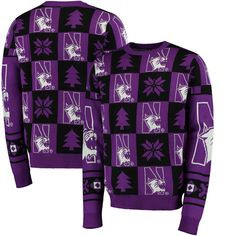 Northwestern Wildcats Patches Ugly Pullover Sweater - Purple - $69.99
