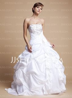 Wedding Dresses - $181.69 - Ball-Gown Sweetheart Floor-Length Taffeta Tulle Wedding Dresses With Ruffle Lace Beadwork (002012718) http://jjshouse.com/Ball-gown-Sweetheart-Floor-length-Taffeta-Tulle-Wedding-Dresses-With-Ruffle-Lace-Beadwork-002012718-g12718