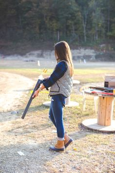 herringbone vest, duck boots, bean boots, rifle, preppy outfit, fall outfit ideas, fall style, monogram necklace // grace wainwright from a southern drawl
