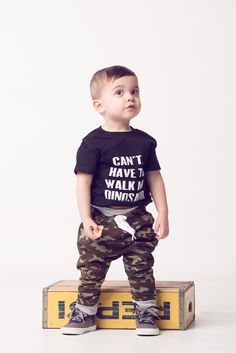 Cant. Have to walk my dinosaur. Tee and camo joggers by Portage and Main