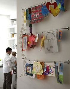 Fun way to hang kids artwork, you can get it at Ikea and even Target! Fun way to hang kids artwork, you can get it at Ikea and even Target! Displaying Kids Artwork, Artwork Display, Hanging Artwork, Display Wall, Display Photos, Hanging Paintings, Scarf Display, Quilt Display, Kids Bedroom Ideas
