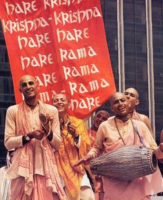 The Hare Krishna maha-mantra burns up all material desires and delivers transcendental love for Krishna. It makes one blissful just like the devotees in this picture. So start chanting now .