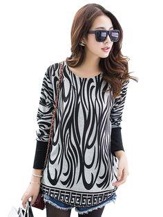 Stylish Geometric Print Loose Long Sleeve Designer T-shirt